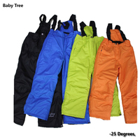 6 12 Years High Quality Children Winter Warm Outdoor Waterproof Ski Pants 25 Cotton padded Snow Trousers For Kids Boys Girls