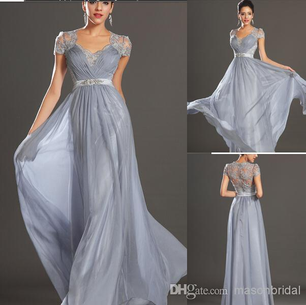 2015 Silver Grey Ruched Evening Dresses Women\'s Wear Prom Dresses ...