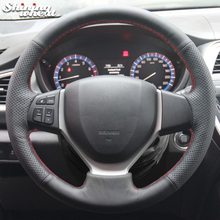 BANNIS черный кожаный чехол рулевого колеса автомобиля для Suzuki CELERIO S-CROSS SX4 2013 Suzuki Vitara