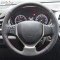 Черный кожаный чехол рулевого колеса автомобиля BANNIS для Suzuki CELERIO  SX4 2013  2014  Suzuki Vitara  2015