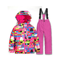 Winter Sports Child Thickened Clothes 2017 New Free Shipping Boys/girls Ski Suit Waterproof Windproof Snow Pants+Jacket a Set o