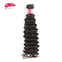 Ali Queen Hair Products Deep Wave Virgin Brazilian Hair Bundles Natural Color 12 to 30 100% Human Hair Weave
