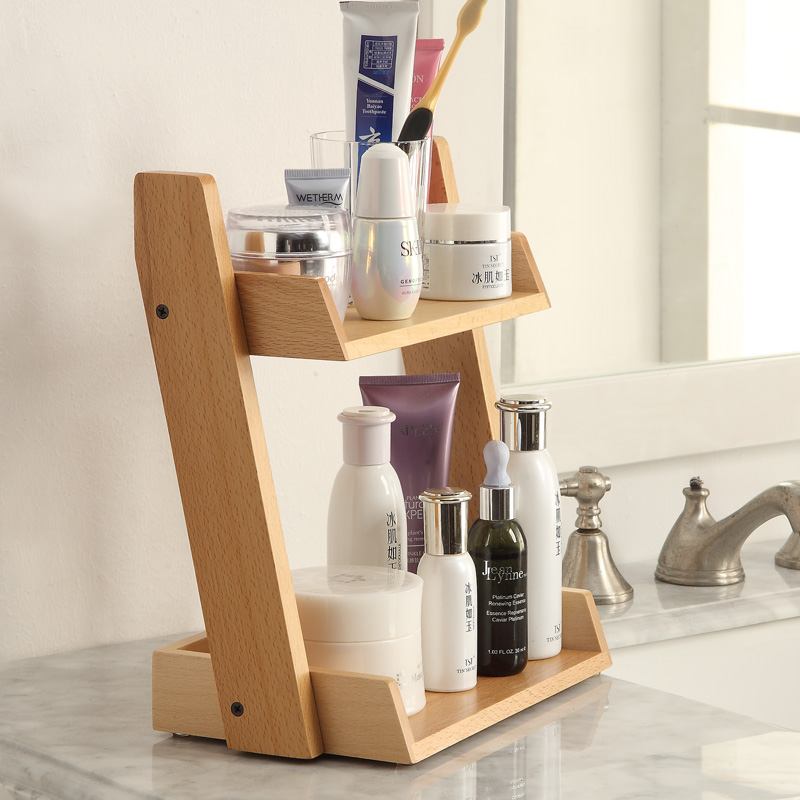 Bathroom Wooden Storage Shelves Cosmetics Shelf Multi storey ...