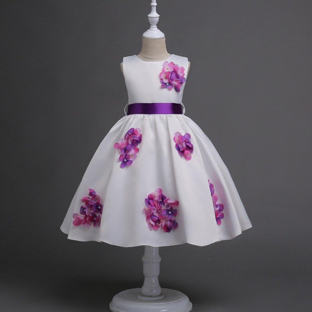 Spring O-Neck Sleeveless Beading Princess Dress Cute Floral Ball Gown Girl 's Dresses L51 random floral print v neck sleeveless irregular hem dresses