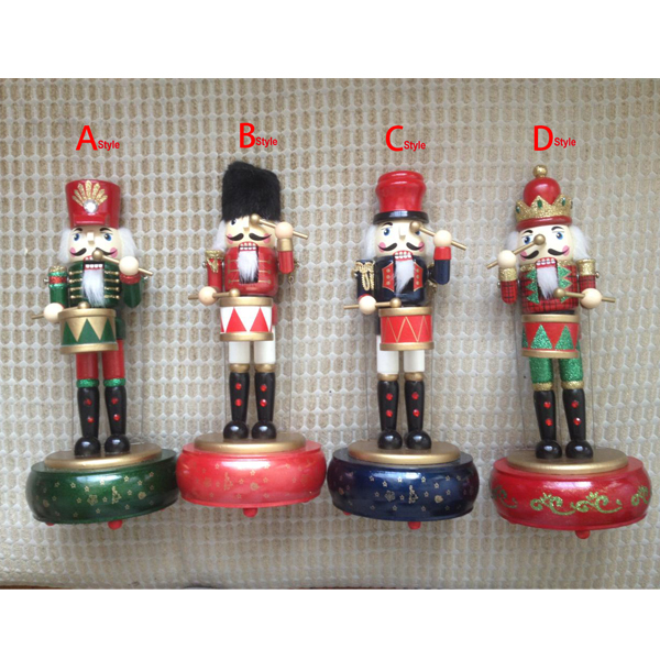 HT055 toy 31CM fine painted nutcracker Round Music Box walnut soldiers  novelty ornaments Exquisite Gift Box Christmas gift ht025 free shipping movable doll puppets 13cm hardcover box painted walnut wooden nutcracker children christmas toy 2pcs lot