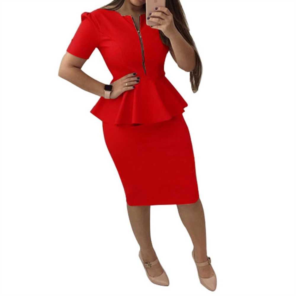 b78c6f0ca40 Элегантные офисные женские туфли платье для женщин с круглым вырезом  короткий рукав работы платья для пикантные