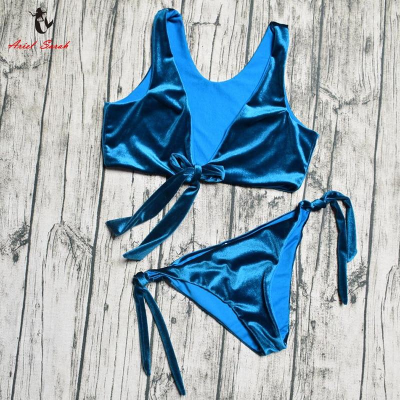 Ariel Sarah 2018 Bikinis Women Solid Bathing Suit Swimwear Swimsuit Women Chest Bandage Bikini Push Up Maillot De Bain Femme
