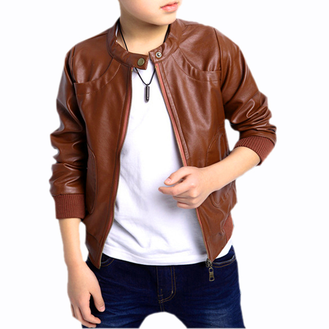 5f6368169 New Boys Coats Faux Leather Jackets Children Fashion Outerwear Spring &  Autumn -Brown, 130cm
