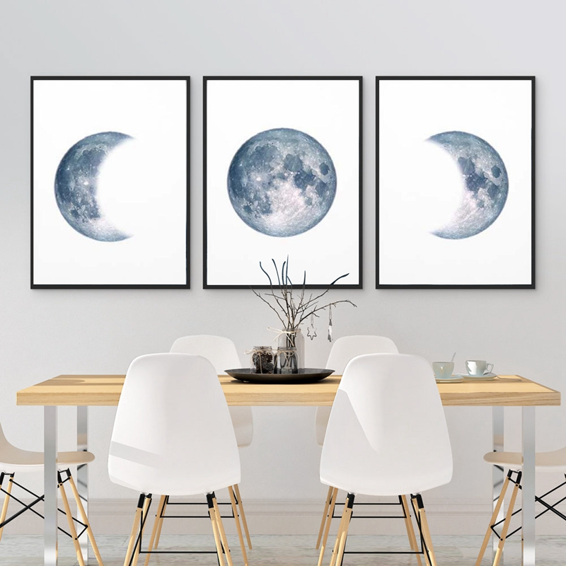 Moon-Phases-Poster-Print-Full-Moon-Half-Moon-Wall-Art-Canvas-Painting-Night-Sky-Space-Galaxy