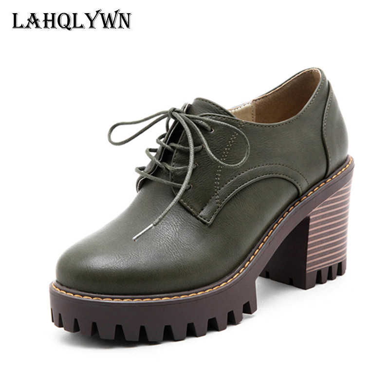 Plus size 34-43 Spring Women high heel 8 cm Shoes Woman Brogue Leather Lace Up Footwear Female Oxford Shoes For Women  P31