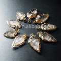 Natural crystal arrowhead arrow head Pendant charm,24k gold edged crystal Pendant (WT-P309)