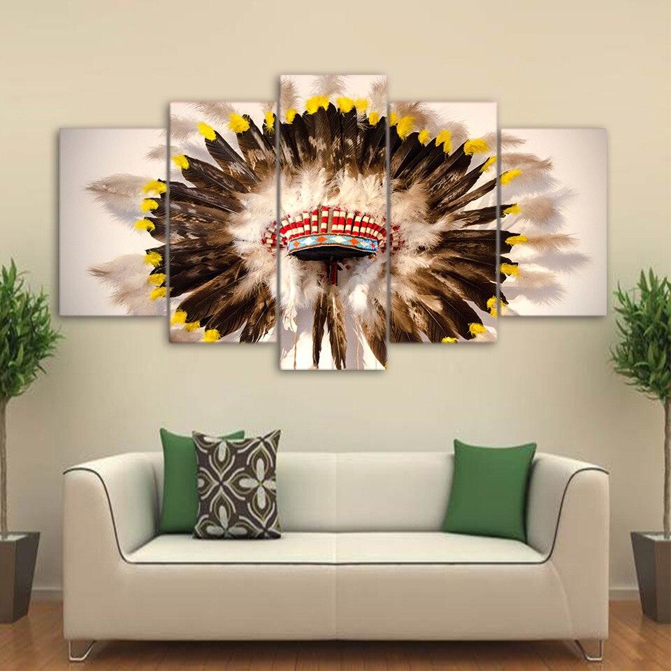 Native American Indian Home Decor: Canvas Printed Pictures Modular Home Decor 5 Pieces Native