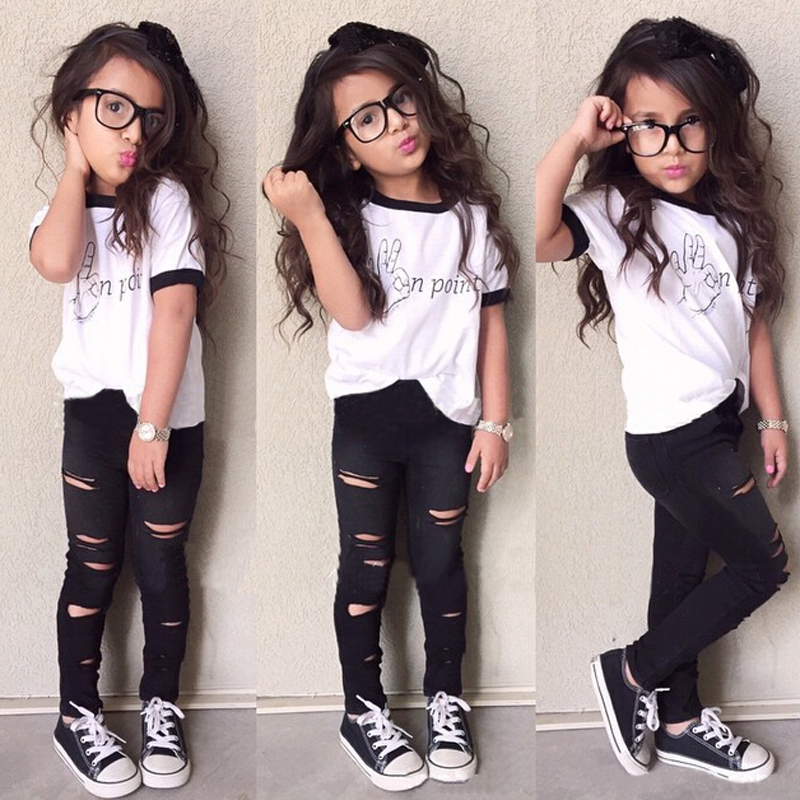 Trend Europe style Special design girls clothing sets fashion letters white T-shirt + hole trousers children - baby-kids store