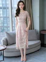 AIYANGA Long Lace Dress Women 2019 Summer Dresses Female Two pieces Tops + Dress Elegant Casual Party Bridesmaid Wear