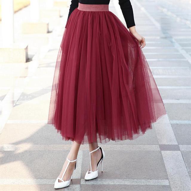 2017 Maxi Faldas Para Mujer Primavera Y el Verano Nueva Gran Swing Tutú de Cintura Alta Falda Larga de Tul