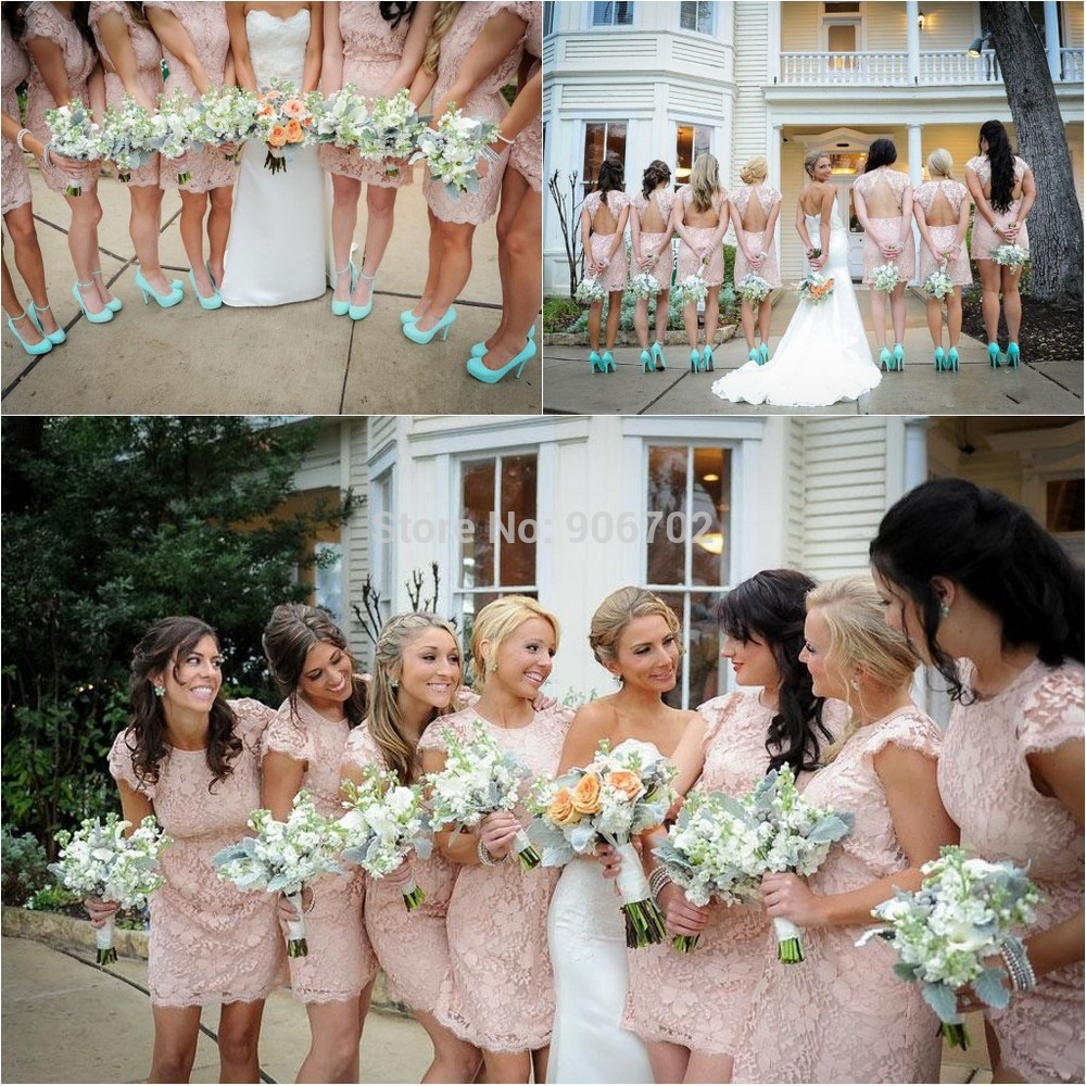 Wholesale new style blush pink short lace bridesmaid for Short blush pink wedding dresses