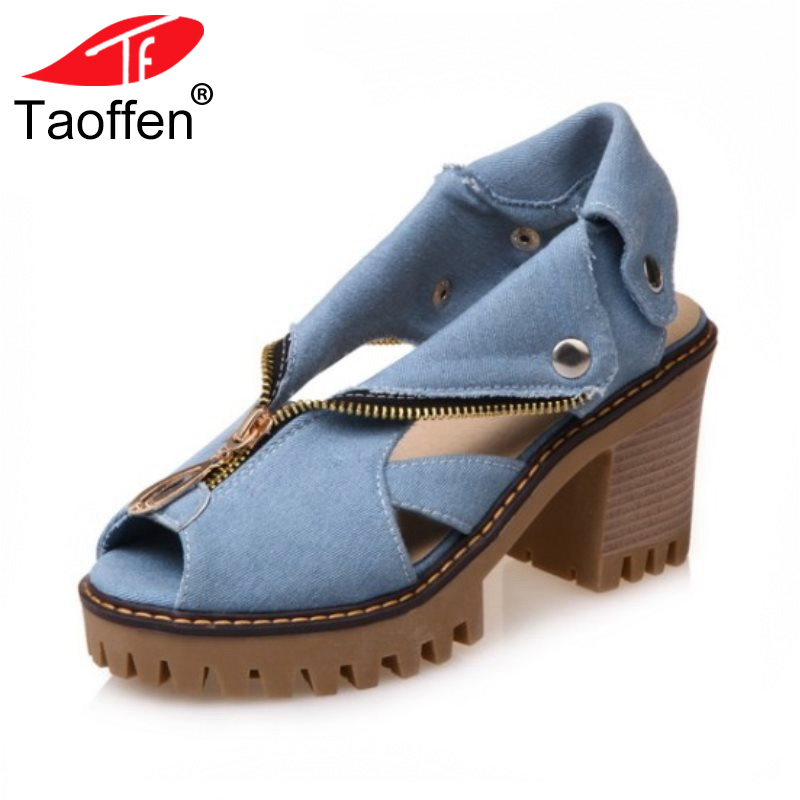 TAOFFEN Size 34-43 Denim High Heel Sandals Women Zipper Platform Sandals Summer Shoes Woman Slip On Shoes For Women Footwear taoffen women high heel sandals open toe pleated concise slippers solid color shoes women footwear summer party size 34 39