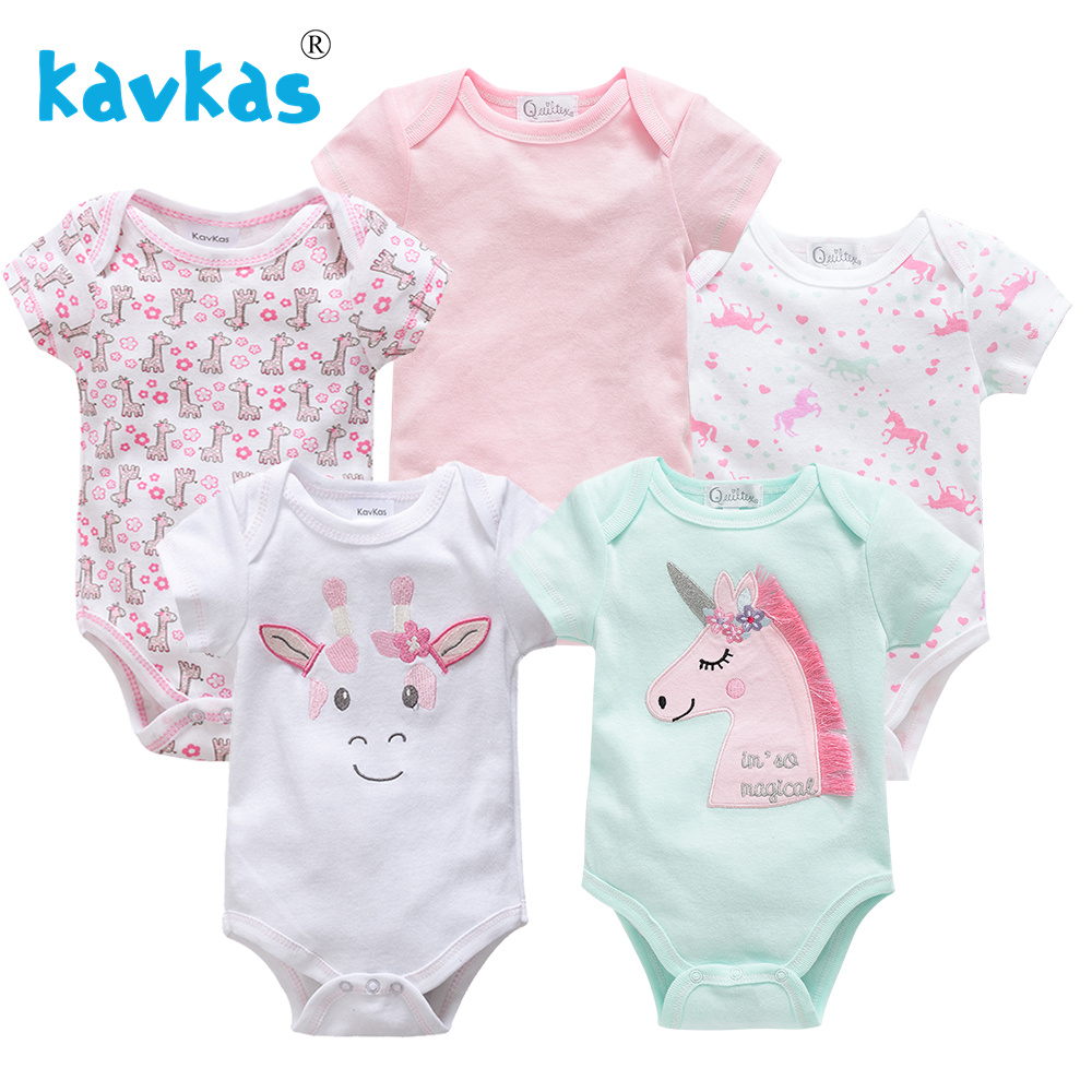 Kavkas 5Pcs Newborn Baby Girl Jumpsuits Infant Boy   Romper   Cute Cartoon Outfits Clothes 100% Cotton Short Sleeve Jumpsuits Set