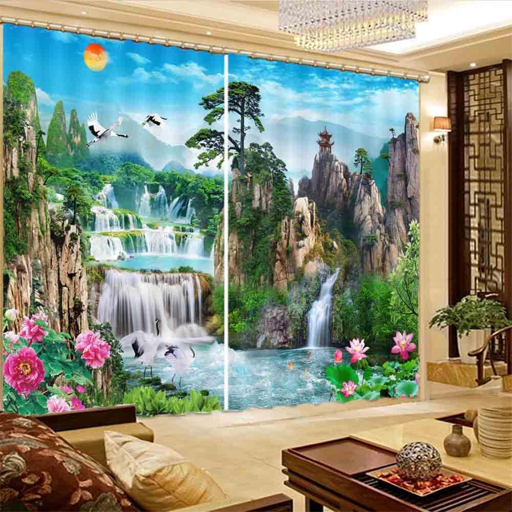 Peinture chinoise de paysage 3D Rideaux de fenêtre salon chambre Rideaux usine personnalisée taille rideau de douche