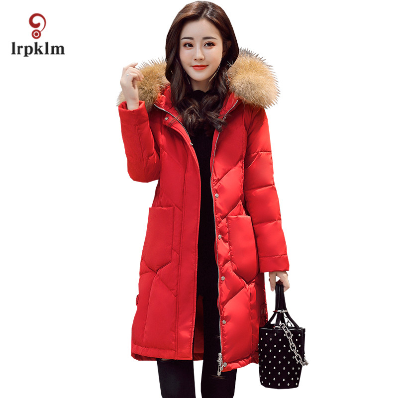 2017 New Women Winter Long Down Jackets With Real Fur Hooded Collar Female Warm Duck Down Coat Slim Red Grey PQ068