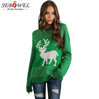 SEBOWEL Woman Reindeer Christmas Tree Ugly Sweater Knitted Pullovers Top Autumn Winter 2018 Deer Pattern Xmas Sweater for Female