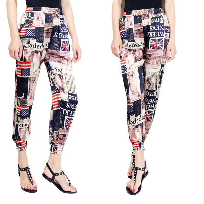 Loose Harem Pant High Waist Show Thin Printed Women's Wear Casual Ankle-Length Trousers Pockets 4