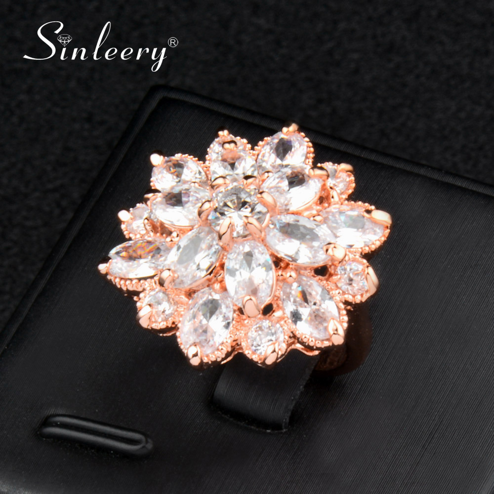 SINLEERY Luxury Big Flower Cubic Zirconia Engagement Rings Rose Gold Color Wedding Jewelry For Women Anel Jz547 SSK
