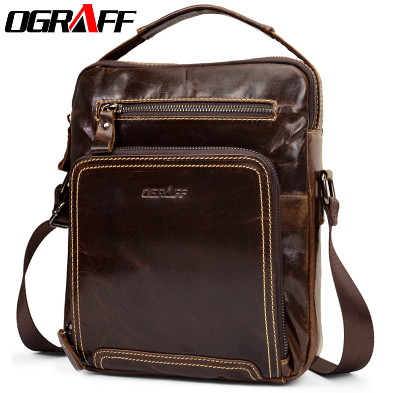 все цены на OGRAFF Men Bags Handbag Genuine Leather Bag Men Small Shoulder Handbags Male Brand Designer Messenger Crossbody Bags Luxury 2018