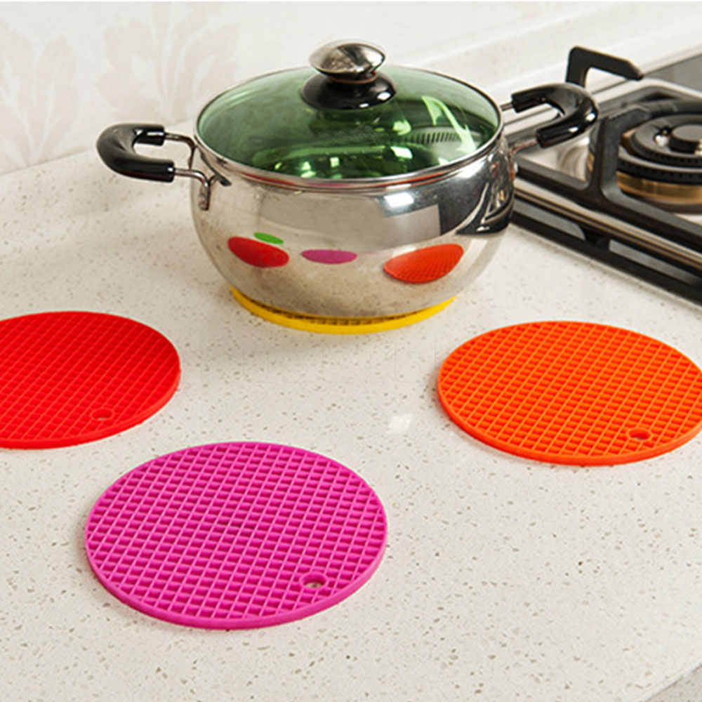 Round Silicone Placemat Nonslip Heat Resistant Mat Dining Table Mat Bar  Mug Placemats Kitchen