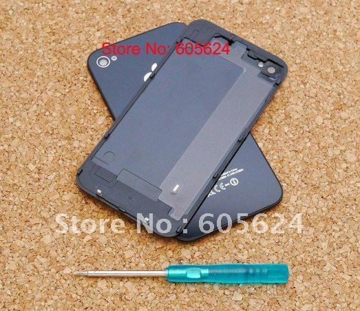 Replacement Glass Back Battery Cover Housing With Open Tools for iPhone 4 Black