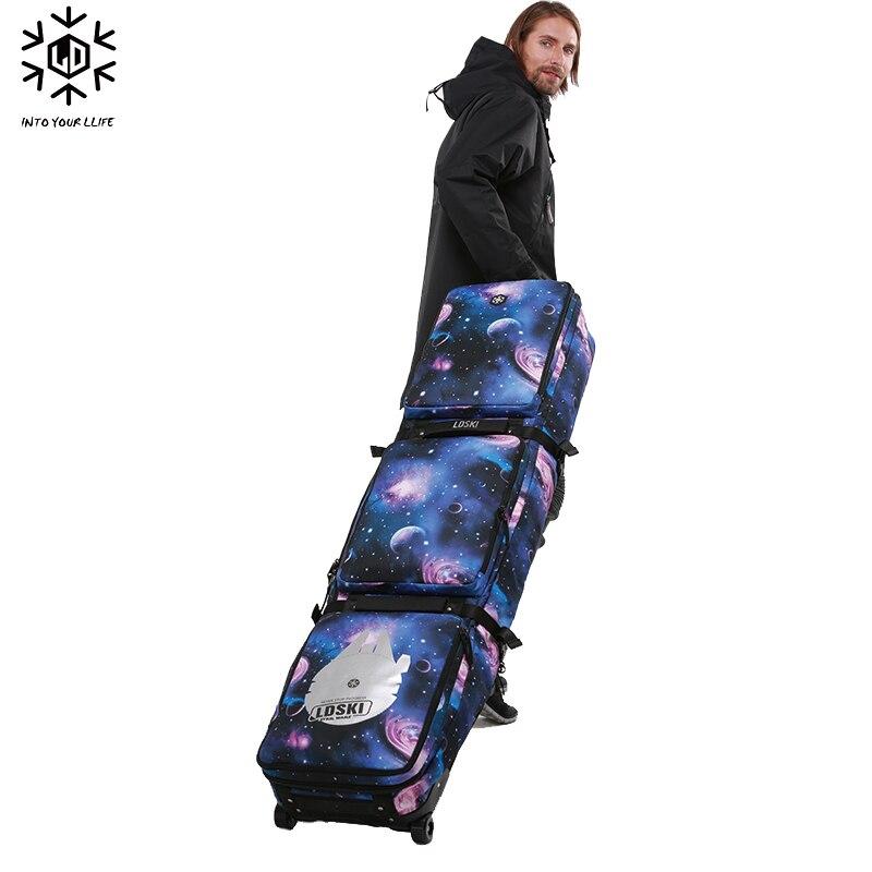 Sac à roulettes de Ski Snowboard avec roues 155 cm 165 cm 175 grande capacité imperméable portable sacs de Ski équipement de Ski Bolso Patines - 4