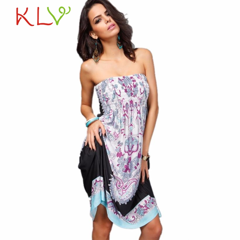 bd773f02e1 Tube Tops Women Cover Up Dress 2017 Hot Sexy Women Printing Summer Dress