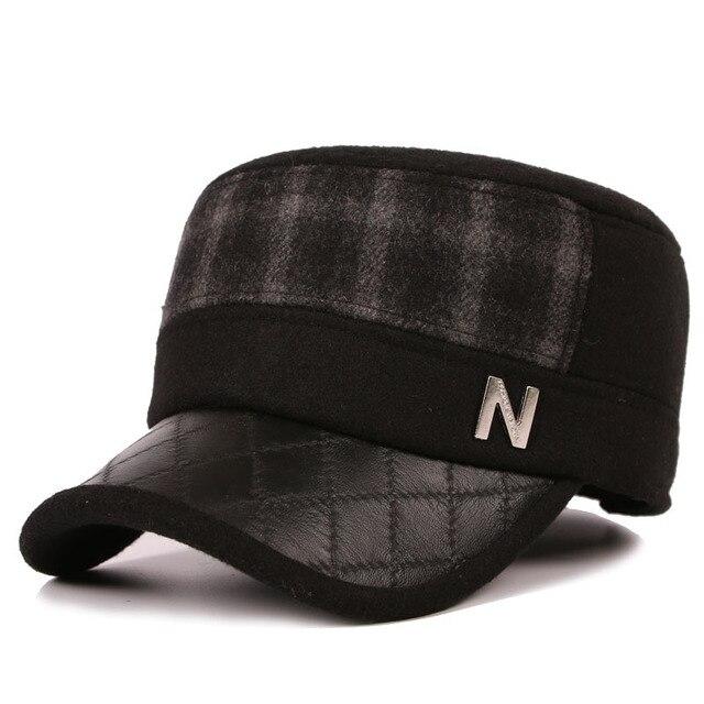 Новый мужской Шляпе Корейский Шерсть Движение Старший Плоская Крышка Бейсбол Шляпы Оптовая Теплые Наушники Утолщение Крышки B-0633