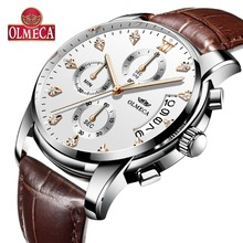 OLMECA Men's Watch Military Relogio Masculino 30M Waterproof Clock Chronograph Wrist Watch Leather Strap Luxury Business Watches
