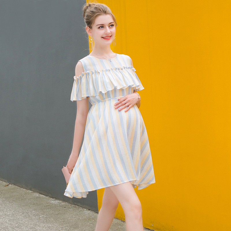 Europe New Hot 2018 Summer Maternity O Neck Short Sleeve Ruffles Striped Cotton Mini Dress Pregnant Women Casual Fashion Dresses striped tied neck flowy dress page 8