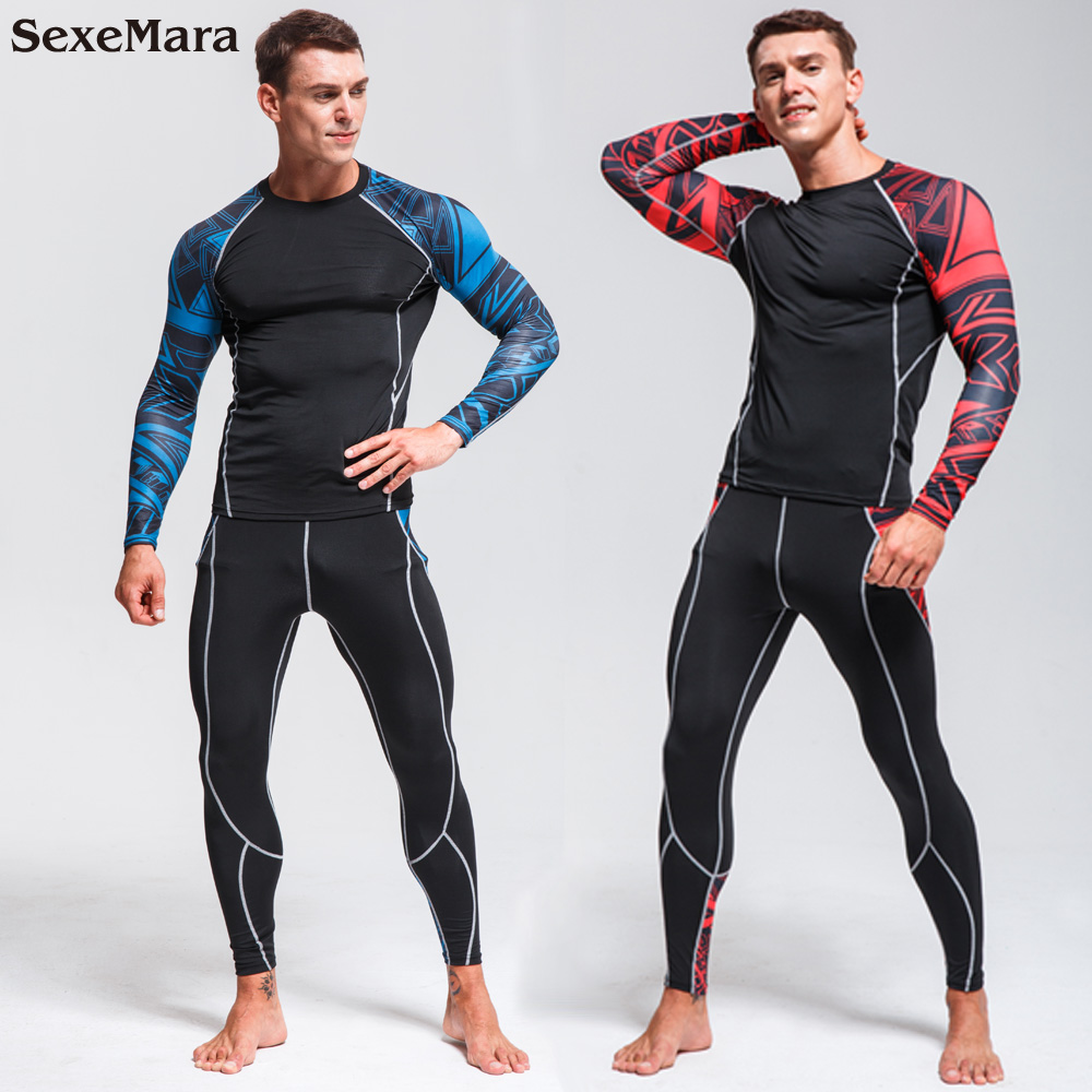 2019 NEW Men's Compression Set Running rashgard kit Tights Workout Fitness Training Sportswear Long Sleeves Shirts Sport Suit