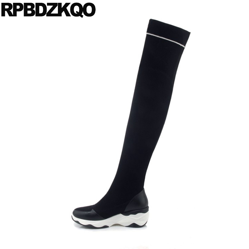Long Knee High Casual 2017 Over The Round Toe Creepers Black Platform Flat Sock Women Boots Winter Shoes Slim Female Chinese nayiduyun women genuine leather wedge high heel pumps platform creepers round toe slip on casual shoes boots wedge sneakers