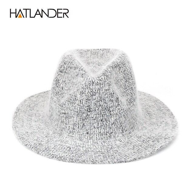 b4e1ce0d92 US $14.0 |Aliexpress.com : Buy [HATLANDER] 2017 Crochet Wool Fedoras for  Men Women Knitted Winter Hats Flat Brim Cowboy Cap Gorros Outdoor Warm Fur  ...