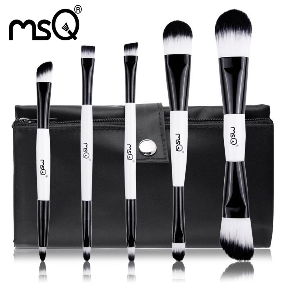 MSQ 5pcs Makeup Brushes Set Foundation Blusher Eyeshadow Cosmetic Make Up Brush kit Double End Synthetic Hair Canvas Case hot msq new product single foundation black synthetic makeup brush big wood handle cosmetic make up kit free shipping