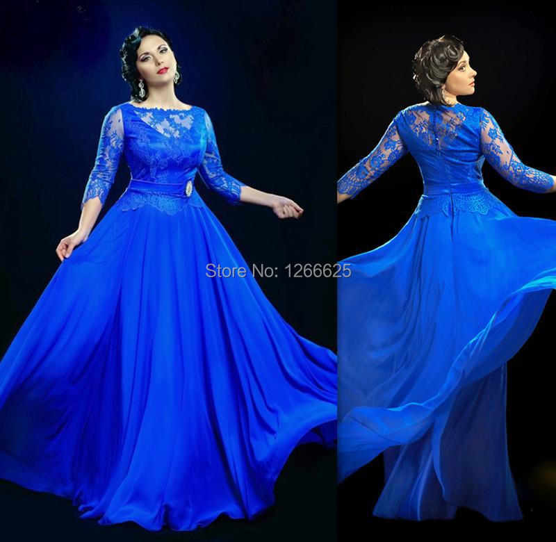 Cheap Formal Royal Blue Sheer Evening Dresses With 34 Sleeve Long