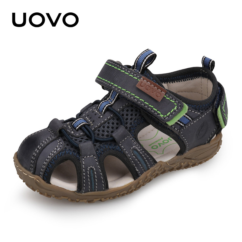 UOVO New 2018 Leather Sandals Boys and Girls Summer Beach Shoes Little Children Baotou Sport Sandals For Kids Size 25#-36#