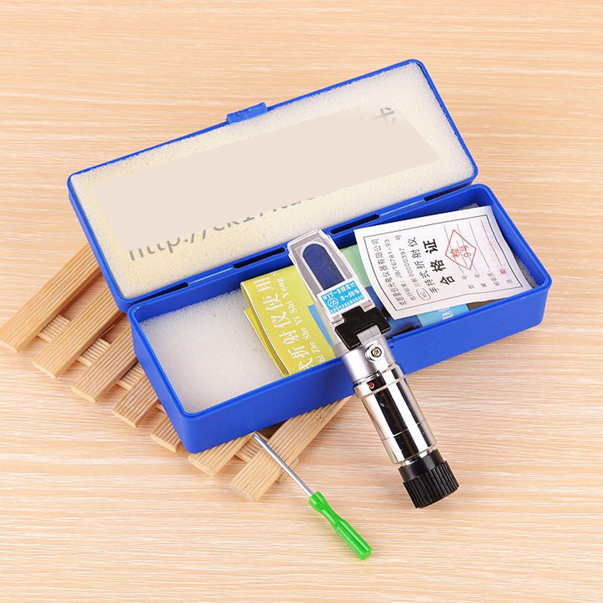 Liquid sugar concentration tester, handheld refractometer Brix refractometer sugar sweetness Measuring range: 80% Accuracy: 1% soy milk concentration meter sugar sweetness and can measure brix