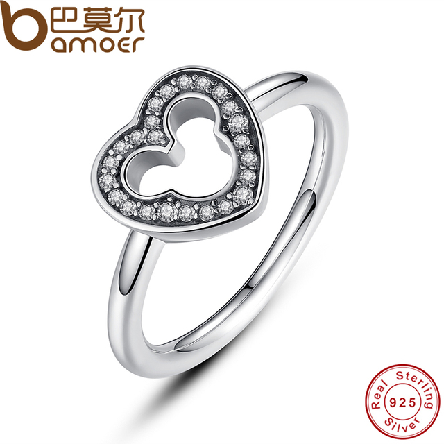 BAMOER New Collection 925 Sterling Silver Heart Finger Ring with Clear CZ for Wo