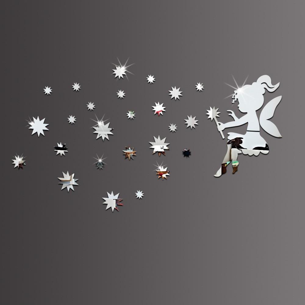 Meya 3d装飾天使吹い星ミラーウォールクロックステッカー、diyの装飾ミラーステッカー、ミラーステッカーデカール