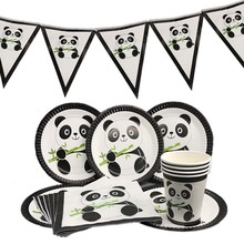 Omilut Panda Birthday Party Decorations Baby Shower Boy Disposable Plates/Cups/Napkins Kid Supplies