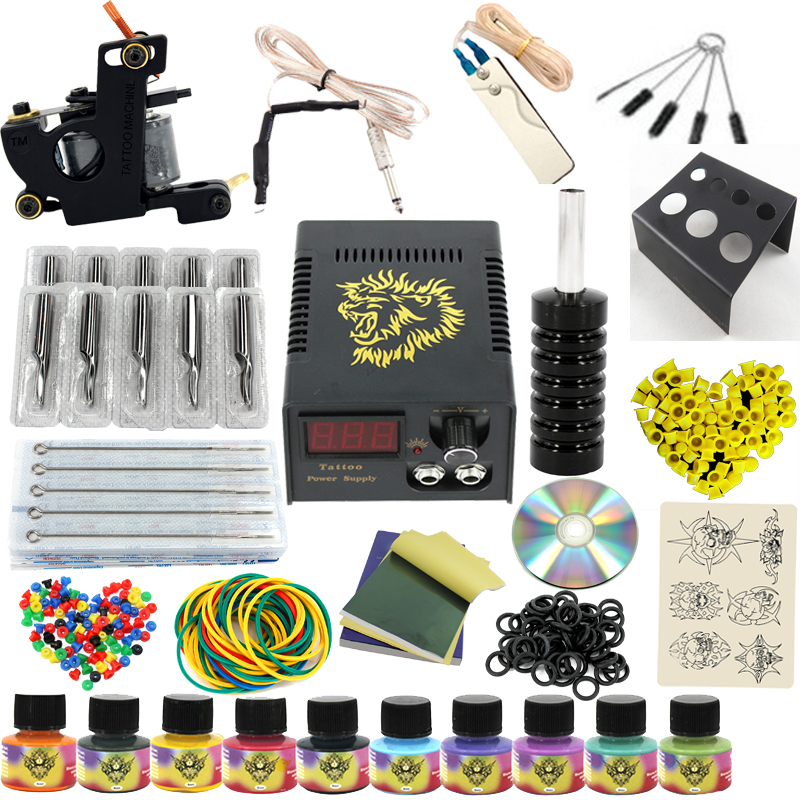 Complete profession Tattoo kits 10 wrap coils 1 guns machine 10 tattoo ink sets power supply disposable needle clip cord disposable tattoo tube with needle combo mixed 40 piece