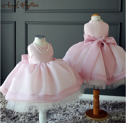 Beautiful Pink ball gown tutu princess Pageant 1 year Birthday Dress for Girls Baby with bow baptism gown christening dress baptism christening gown baby girls dress 1 year birthday dress tutu girl white lace formal infant 1st birthday princess dress