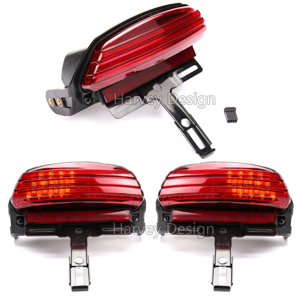 Red Tri-Bar Fender LED Tail Brake Light for Harley Dyna Fat Bob FXDF 2008 Up motorcycle tail tidy fender eliminator registration license plate holder bracket led light for ducati panigale 899 free shipping