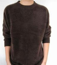 new qiu dong outfit men's fashion sable woollen sweater pure color cashmere round collar sweater knit quality goods