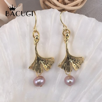 New 100% Authentic Leaves Pearl Female Romantic Earrings Drop Earrings Jewelry image